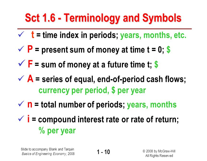 Slide to accompany Blank and Tarquin Basics of Engineering Economy, 2008 © 2008 by McGraw-Hill All Rights Reserved 1 - 9 Sec 1.5 – Simple and Compound