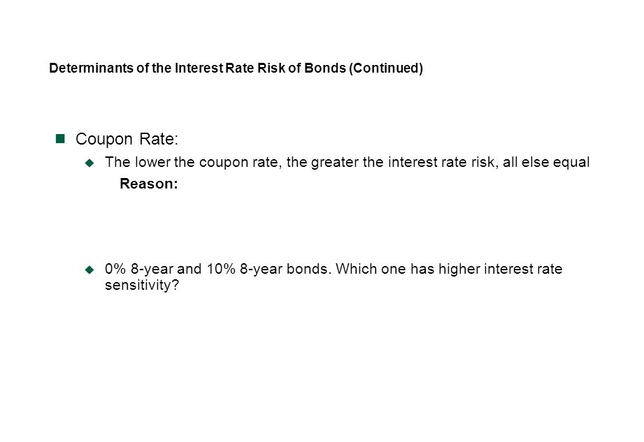 Determinants of the Interest Rate Risk of Bonds (Continued) Coupon Rate:  The lower the coupon rate, the greater the interest rate risk, all else equ