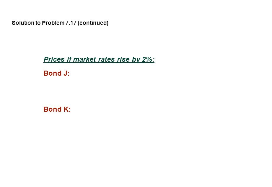 Solution to Problem 7.17 (continued) Prices if market rates rise by 2%: Bond J: Bond K: