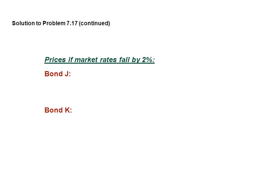Solution to Problem 7.17 (continued) Prices if market rates fall by 2%: Bond J: Bond K: