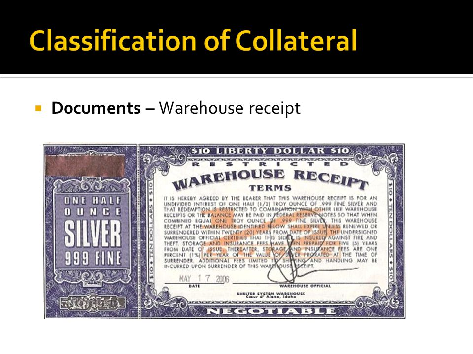  Documents – Warehouse receipt
