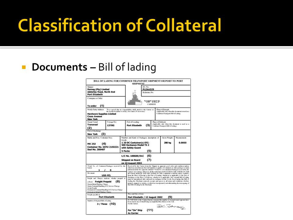  Documents – Bill of lading