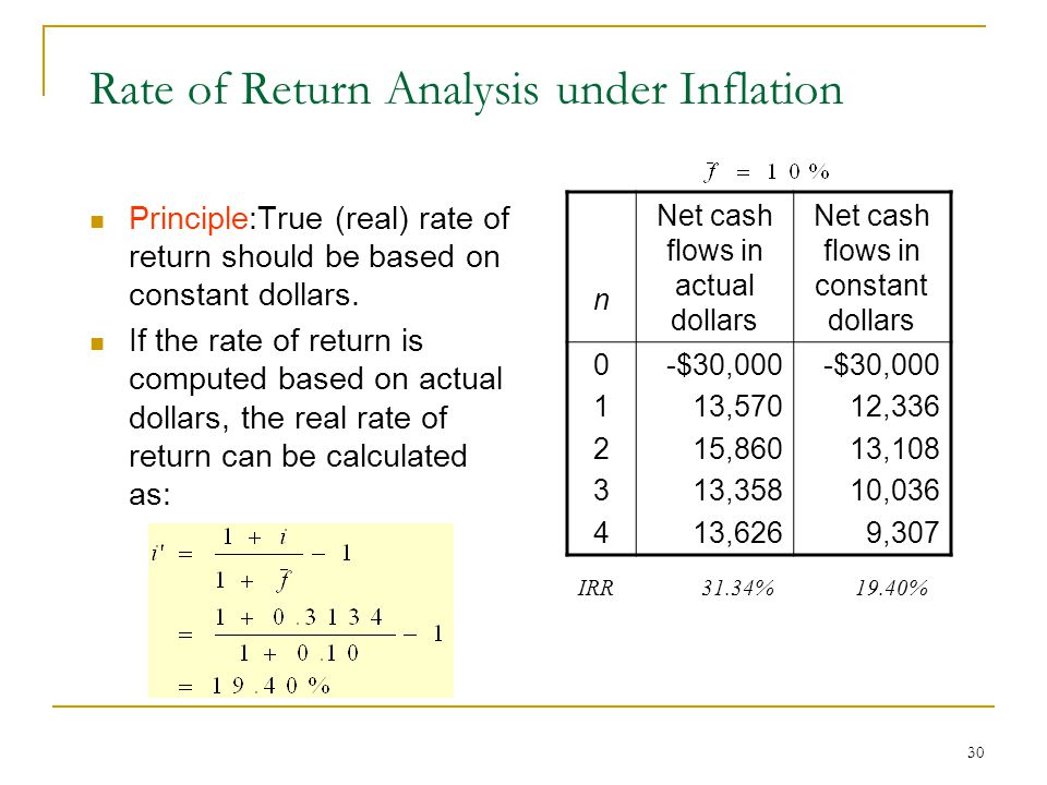 30 Rate of Return Analysis under Inflation Principle:True (real) rate of return should be based on constant dollars.