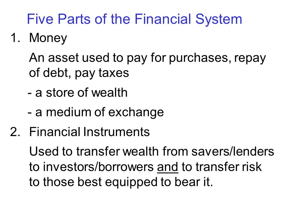 Five Parts of the Financial System 1.Money An asset used to pay for purchases, repay of debt, pay taxes - a store of wealth - a medium of exchange 2.F