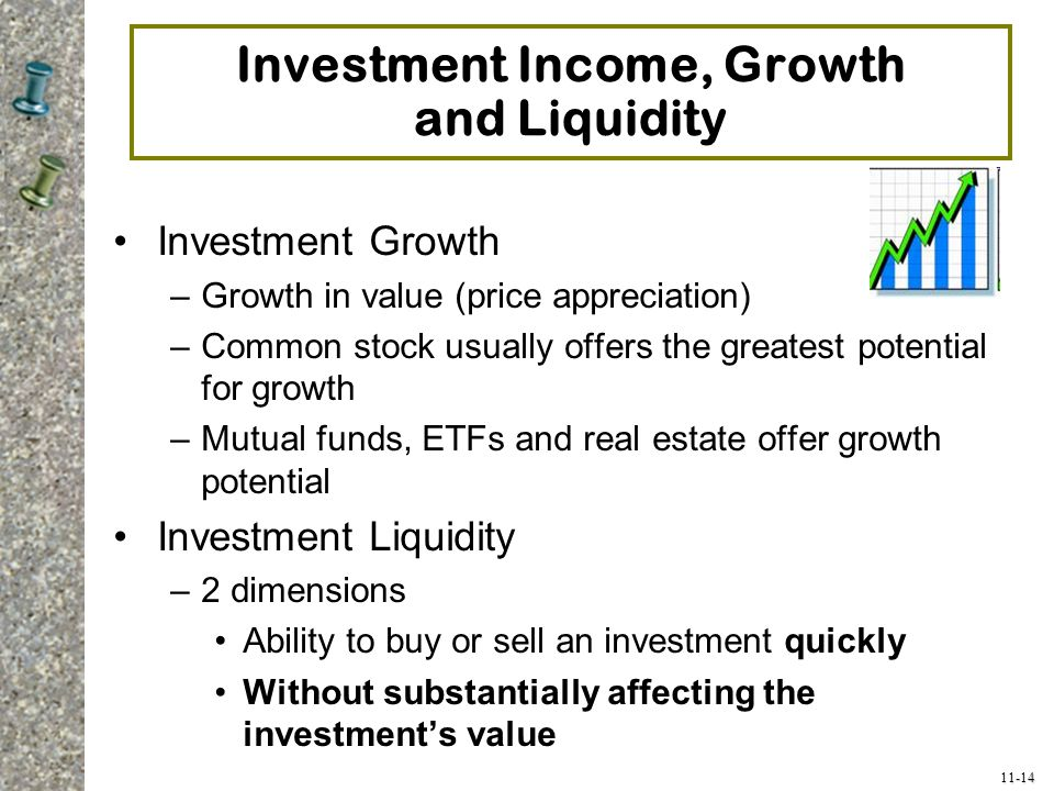 11-14 Investment Income, Growth and Liquidity Investment Growth –Growth in value (price appreciation) –Common stock usually offers the greatest potent