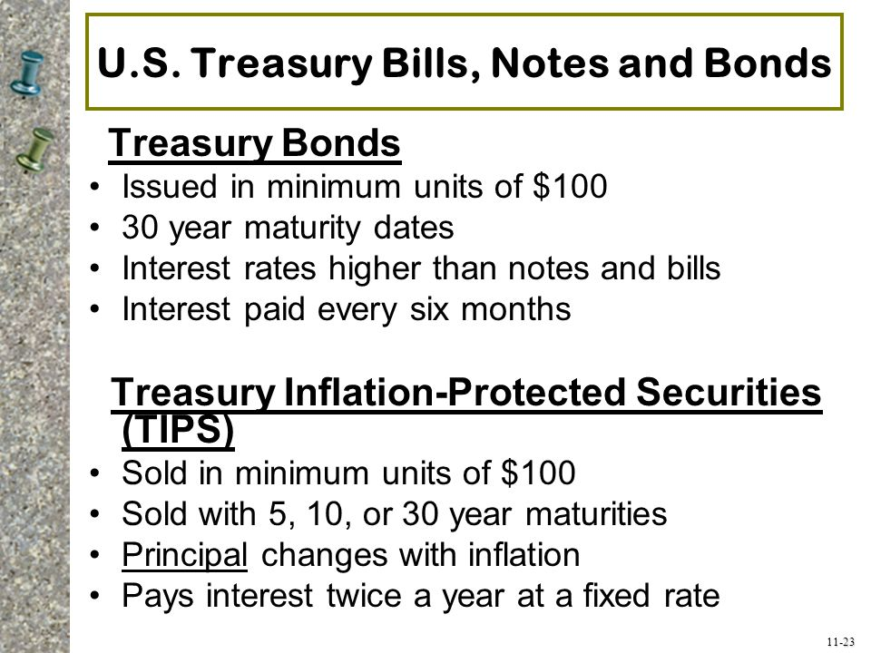 11-23 U.S. Treasury Bills, Notes and Bonds Treasury Bonds Issued in minimum units of $100 30 year maturity dates Interest rates higher than notes and