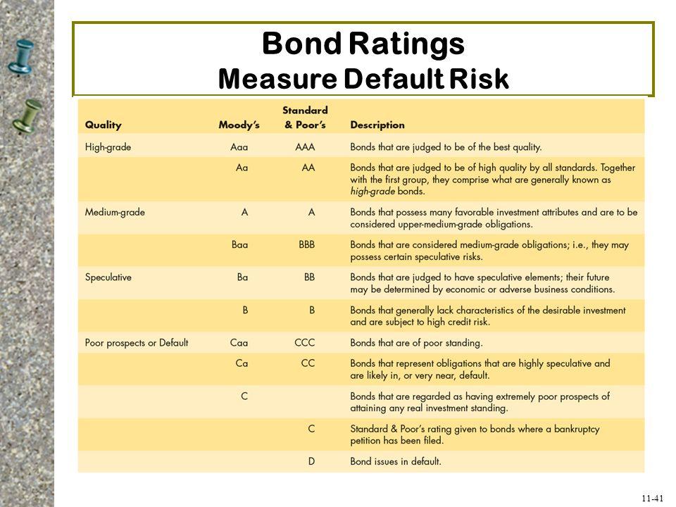 11-41 Bond Ratings Measure Default Risk
