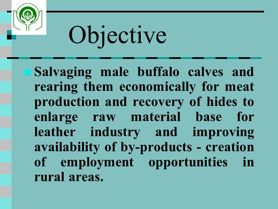 Objective Salvaging male buffalo calves and rearing them economically for meat production and recovery of hides to enlarge raw material base for leather industry and improving availability of by-products - creation of employment opportunities in rural areas.