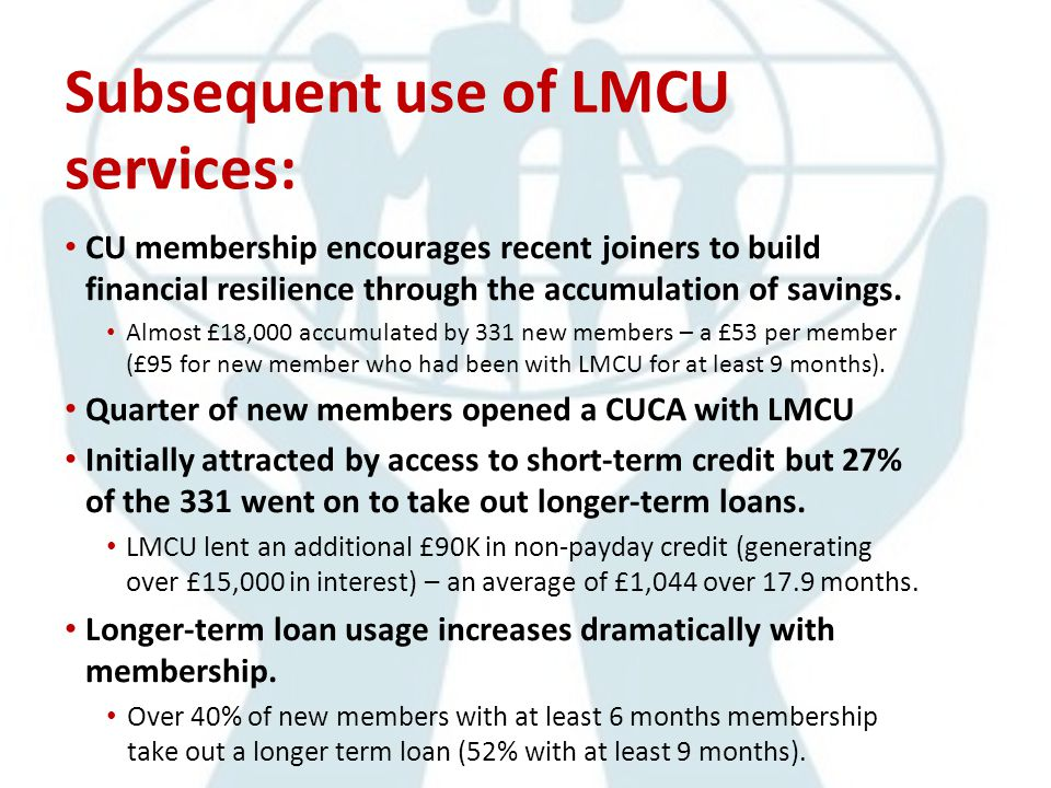 Subsequent use of LMCU services: CU membership encourages recent joiners to build financial resilience through the accumulation of savings.