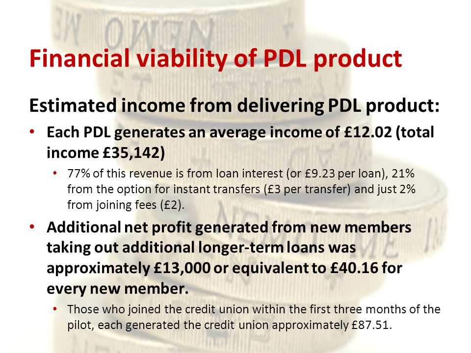 Financial viability of PDL product Estimated income from delivering PDL product: Each PDL generates an average income of £12.02 (total income £35,142) 77% of this revenue is from loan interest (or £9.23 per loan), 21% from the option for instant transfers (£3 per transfer) and just 2% from joining fees (£2).