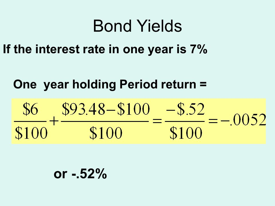 Bond Yields If the interest rate in one year is 7% One year holding Period return = or -.52%