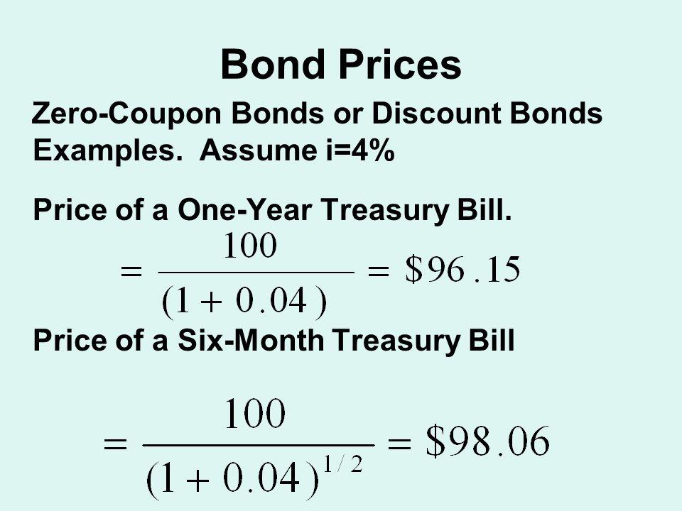 Bond Prices Zero-Coupon Bonds or Discount Bonds Examples.