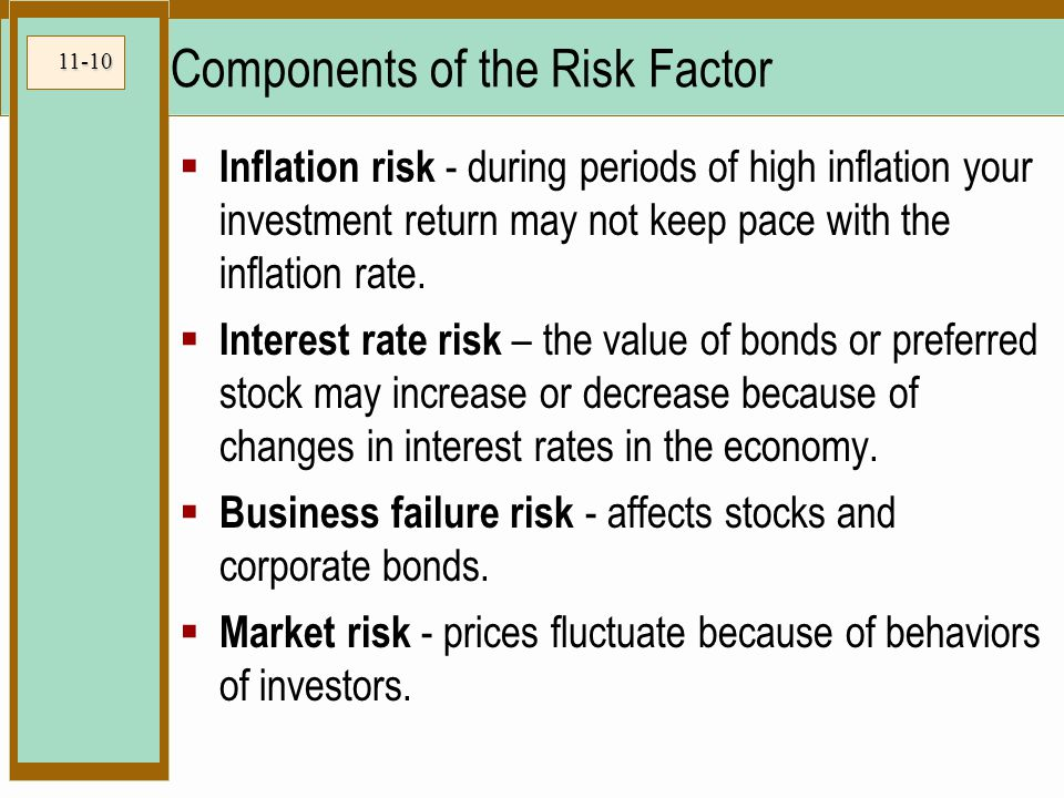 11-10 Components of the Risk Factor  Inflation risk - during periods of high inflation your investment return may not keep pace with the inflation rate.