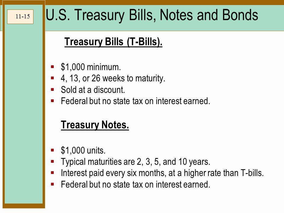 11-15 U.S. Treasury Bills, Notes and Bonds Treasury Bills (T-Bills).