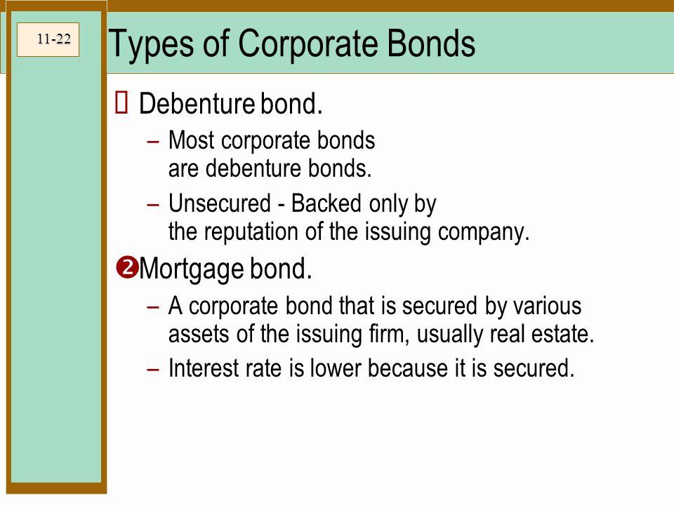 11-22 Types of Corporate Bonds  Debenture bond. –Most corporate bonds are debenture bonds.