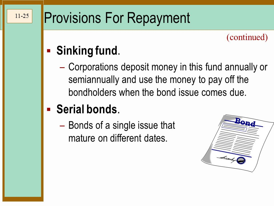 11-25 Provisions For Repayment  Sinking fund.