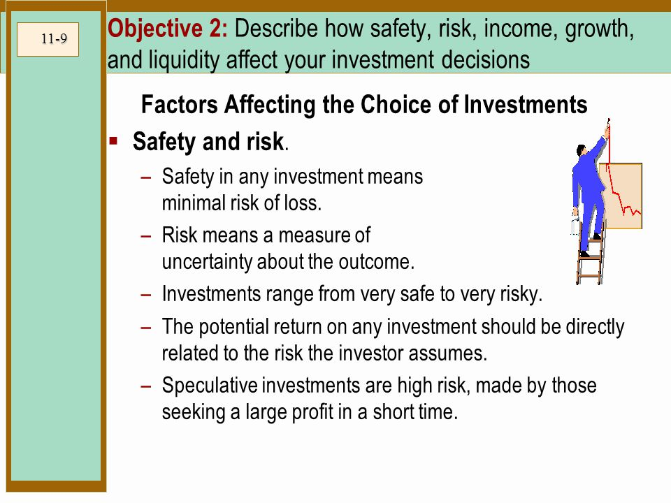 11-9 Objective 2: Describe how safety, risk, income, growth, and liquidity affect your investment decisions Factors Affecting the Choice of Investments  Safety and risk.