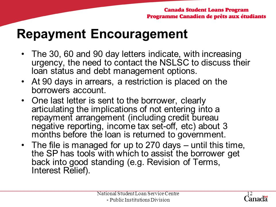 National Student Loan Service Centre - Public Institutions Division 12 Repayment Encouragement The 30, 60 and 90 day letters indicate, with increasing urgency, the need to contact the NSLSC to discuss their loan status and debt management options.