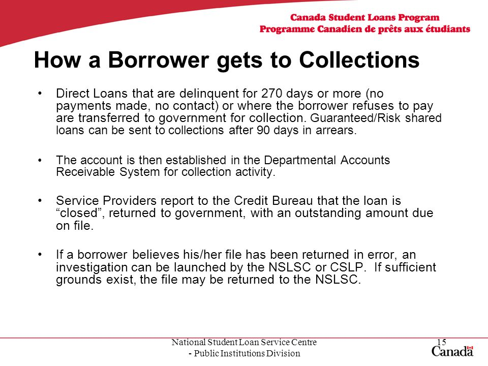 National Student Loan Service Centre - Public Institutions Division 15 How a Borrower gets to Collections Direct Loans that are delinquent for 270 days or more (no payments made, no contact) or where the borrower refuses to pay are transferred to government for collection.