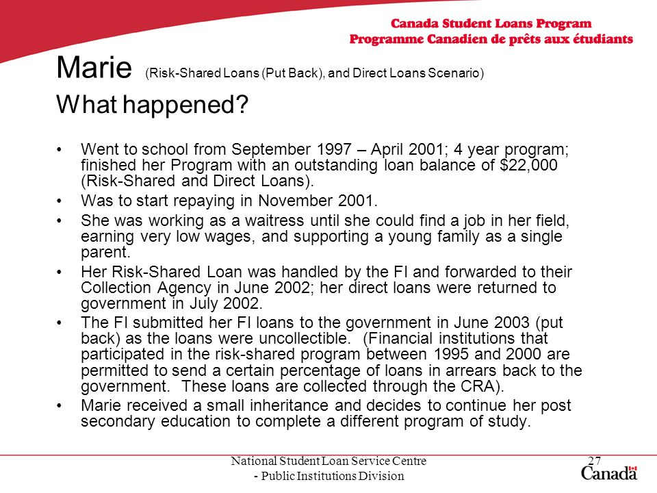 National Student Loan Service Centre - Public Institutions Division 27 Marie (Risk-Shared Loans (Put Back), and Direct Loans Scenario) What happened.
