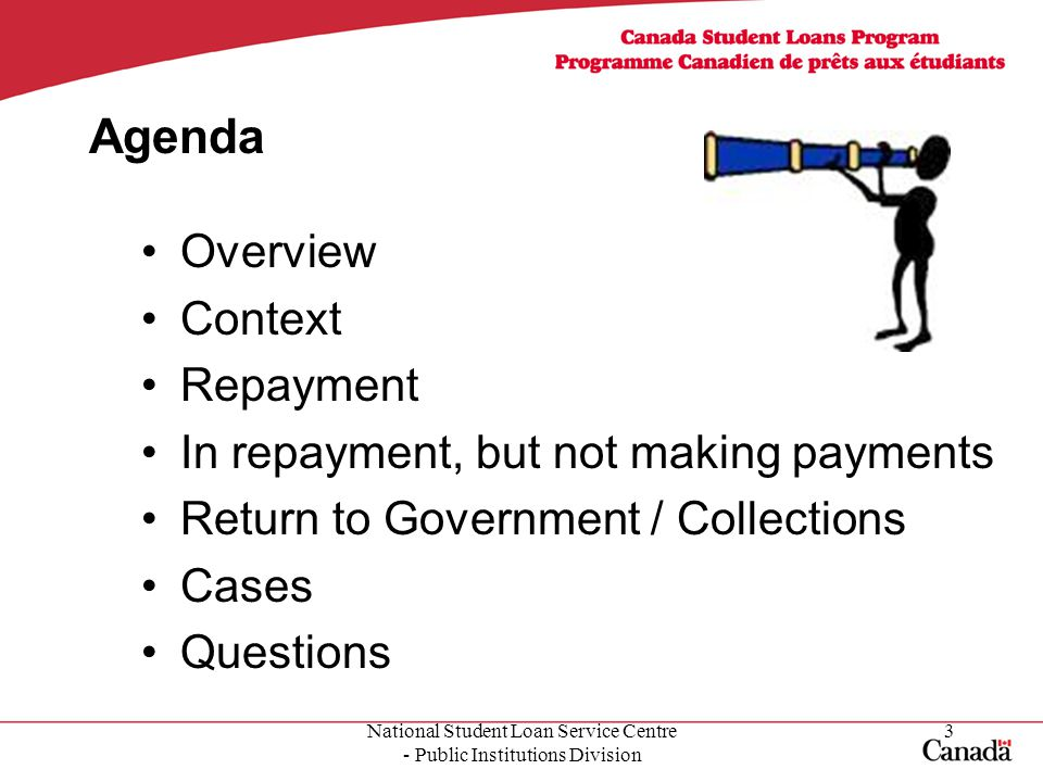 National Student Loan Service Centre - Public Institutions Division 3 Agenda Overview Context Repayment In repayment, but not making payments Return to Government / Collections Cases Questions