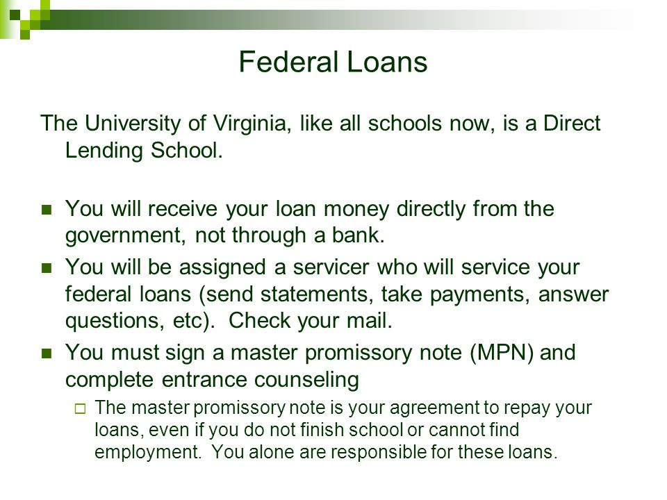 Getting Your Money ALL students should sign up for direct deposit online: http://www.virginia.edu/studentaccounts/direct_deposit.html If you do not si