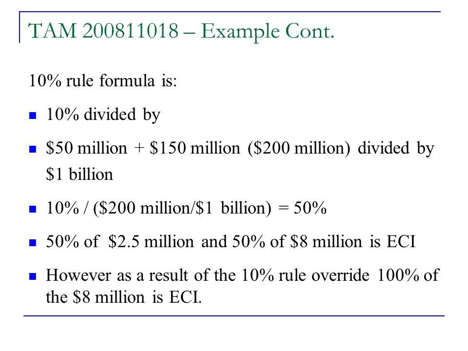 TAM 200811018 – Example Cont.