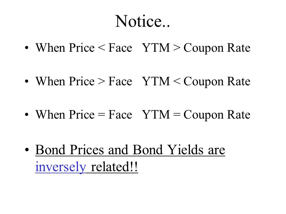 Notice.. When Price Coupon Rate When Price > Face YTM < Coupon Rate When Price = Face YTM = Coupon Rate Bond Prices and Bond Yields are inversely rela