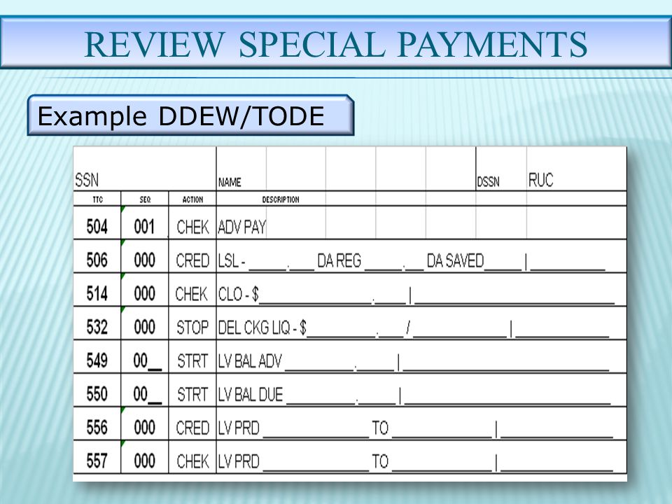 REVIEW SPECIAL PAYMENTS Example DDEW/TODE