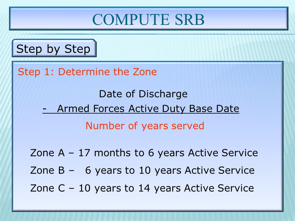COMPUTE SRB Step by Step Step 1: Determine the Zone Date of Discharge - Armed Forces Active Duty Base Date Number of years served Zone A – 17 months to 6 years Active Service Zone B – 6 years to 10 years Active Service Zone C – 10 years to 14 years Active Service