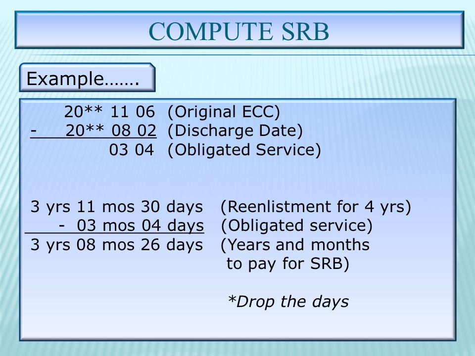 COMPUTE SRB Example…….