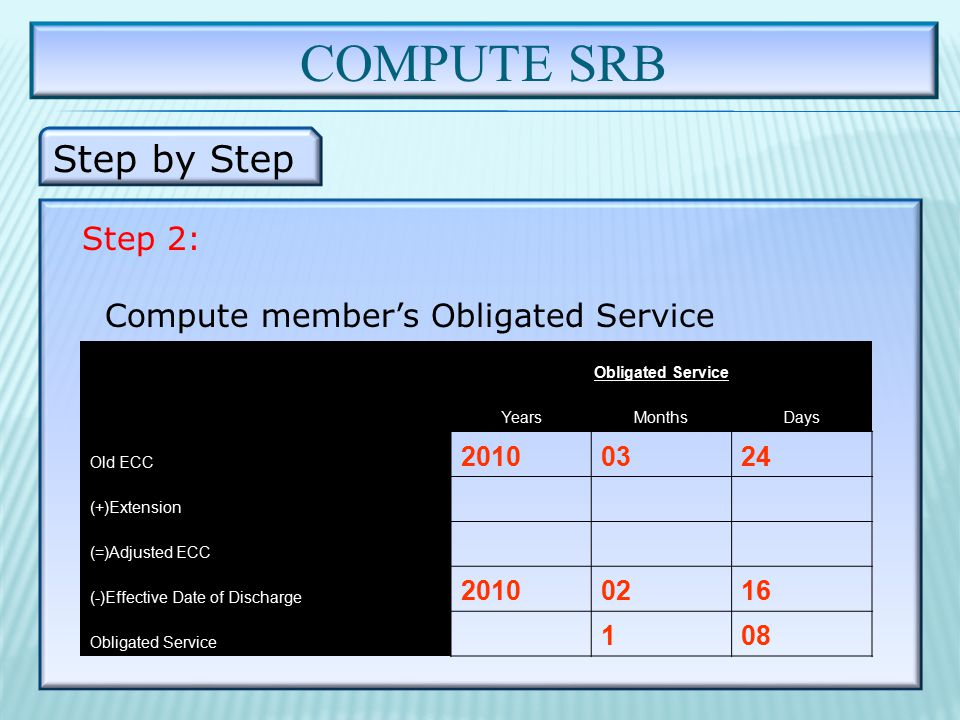 COMPUTE SRB Step by Step Step 2: Compute member's Obligated Service Obligated Service YearsMonthsDays Old ECC 20100324 (+)Extension (=)Adjusted ECC (-)Effective Date of Discharge 20100216 Obligated Service 1 08