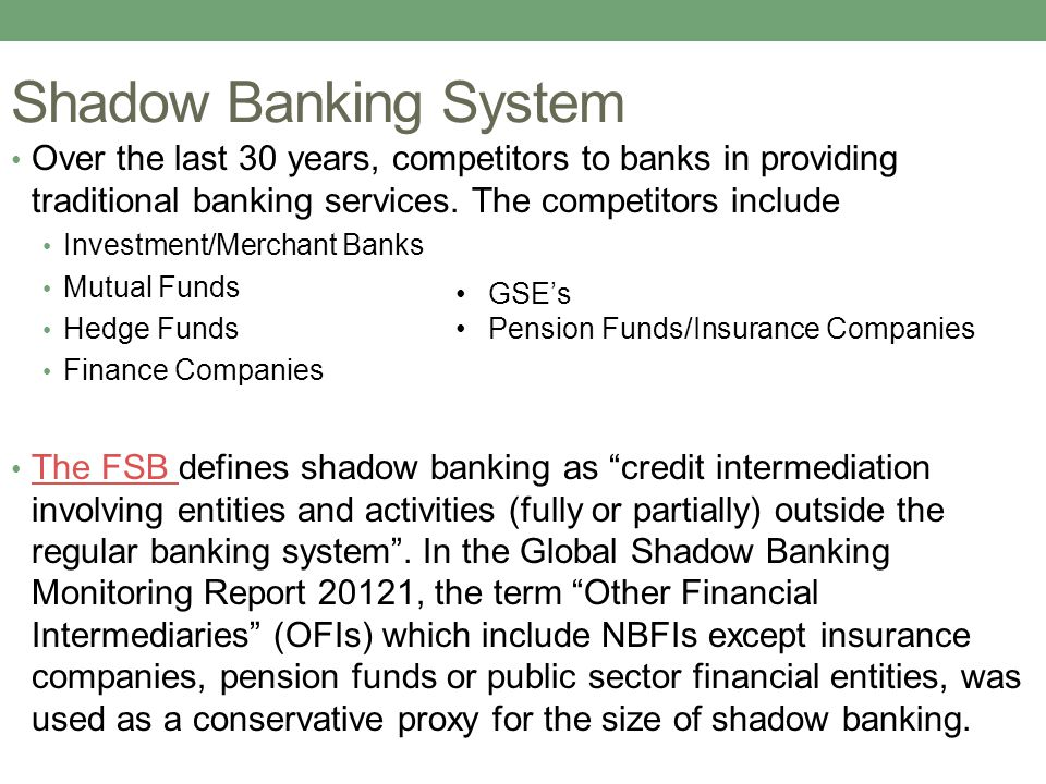 Shadow Banking System Over the last 30 years, competitors to banks in providing traditional banking services. The competitors include Investment/Merch