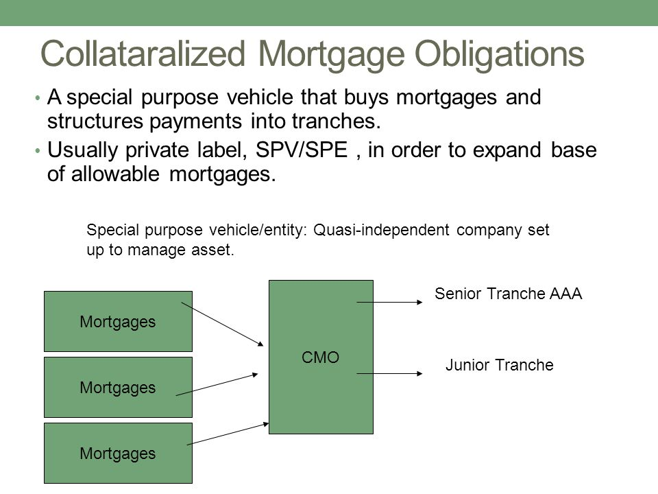 Collataralized Mortgage Obligations A special purpose vehicle that buys mortgages and structures payments into tranches.