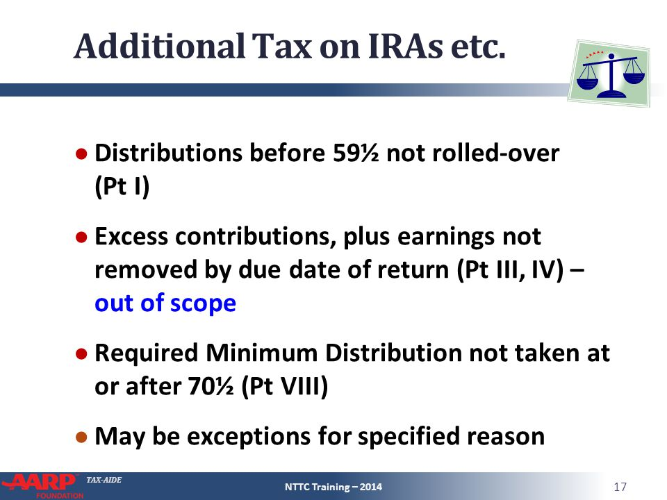 TAX-AIDE Additional Tax on IRAs etc. ● Distributions before 59½ not rolled-over (Pt I) ● Excess contributions, plus earnings not removed by due date o