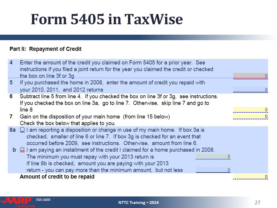 TAX-AIDE Form 5405 in TaxWise NTTC Training – 2014 27