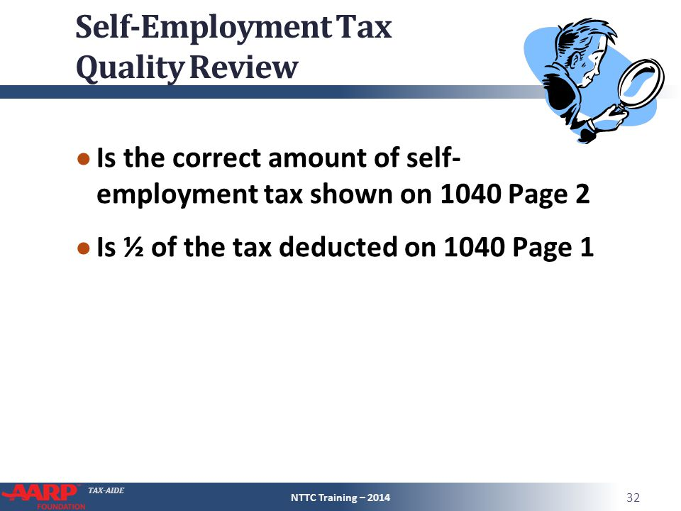 TAX-AIDE Self-Employment Tax Quality Review ● Is the correct amount of self- employment tax shown on 1040 Page 2 ● Is ½ of the tax deducted on 1040 Page 1 NTTC Training – 2014 32
