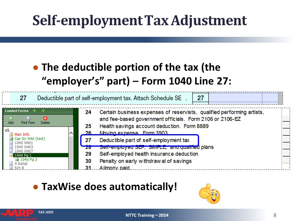 """TAX-AIDE Self-employment Tax Adjustment ● The deductible portion of the tax (the """"employer's"""" part) – Form 1040 Line 27: ● TaxWise does automatically!"""
