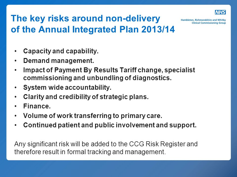 The key risks around non-delivery of the Annual Integrated Plan 2013/14 Capacity and capability. Demand management. Impact of Payment By Results Tarif