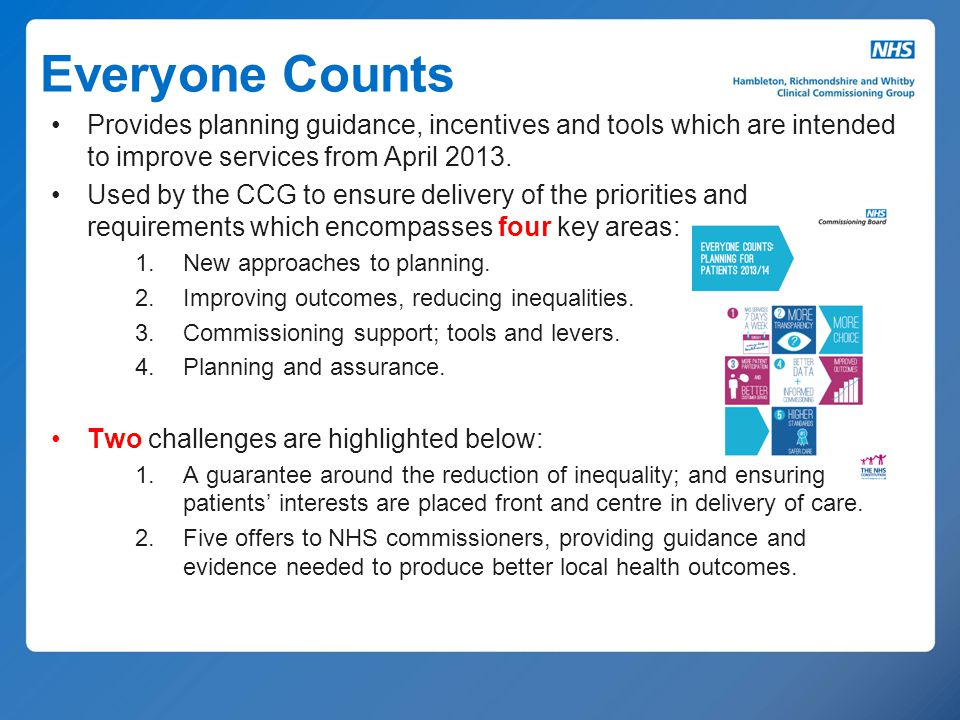 Everyone Counts Provides planning guidance, incentives and tools which are intended to improve services from April 2013. Used by the CCG to ensure del