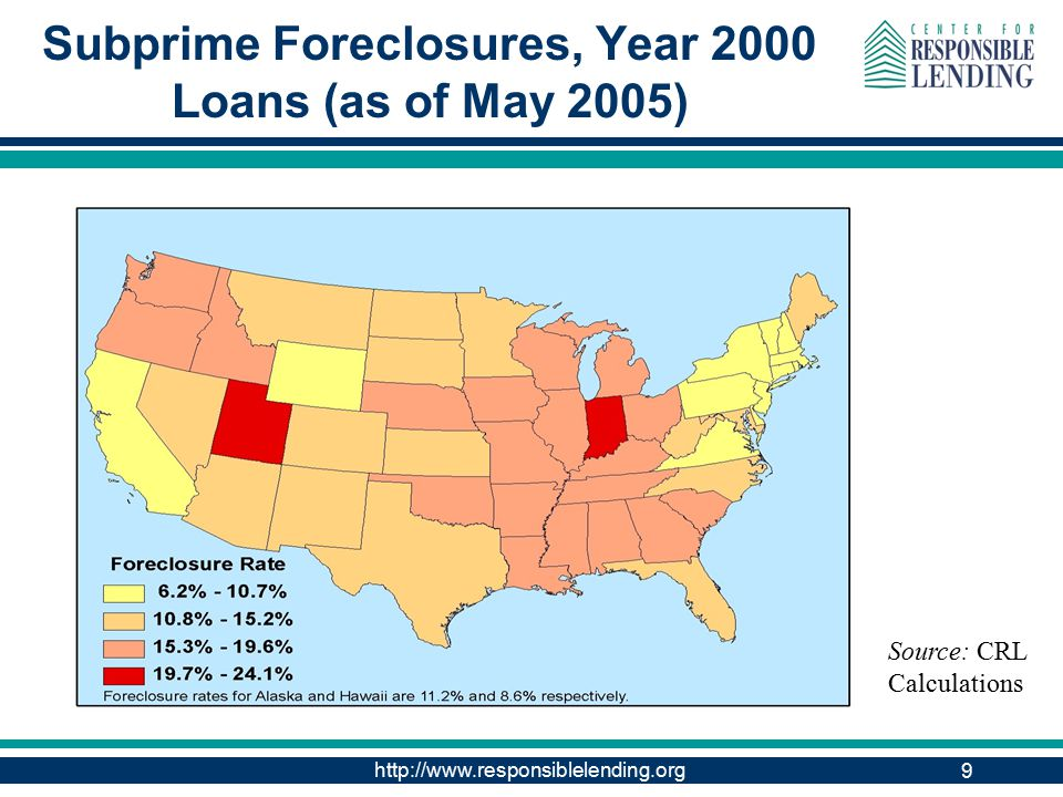http://www.responsiblelending.org 9 Subprime Foreclosures, Year 2000 Loans (as of May 2005) Source: CRL Calculations