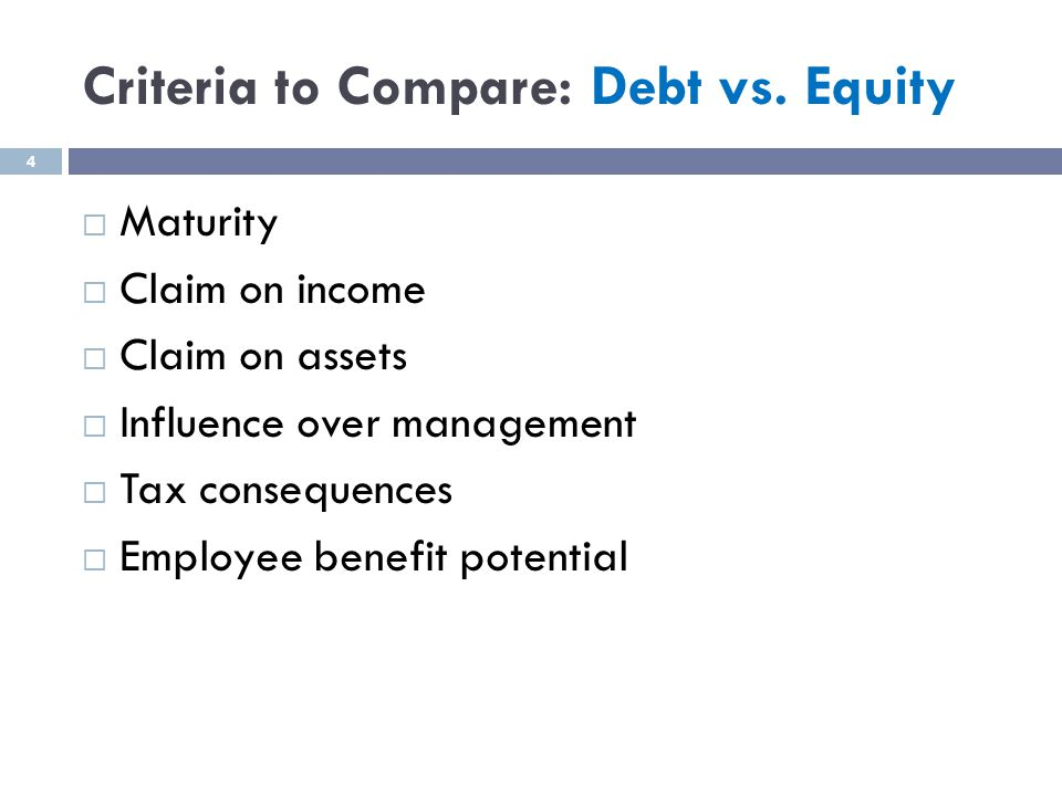 Criteria to Compare: Debt vs.