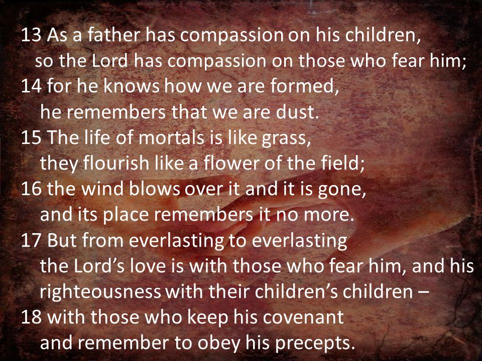 13 As a father has compassion on his children, so the Lord has compassion on those who fear him; 14 for he knows how we are formed, he remembers that we are dust.