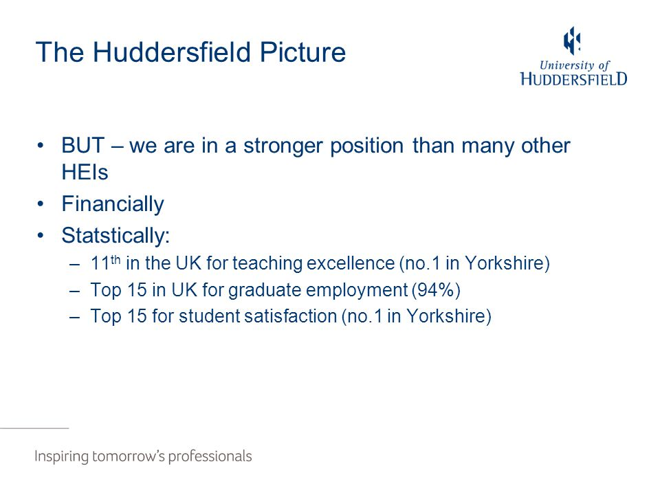 The Huddersfield Picture BUT – we are in a stronger position than many other HEIs Financially Statstically: –11 th in the UK for teaching excellence (