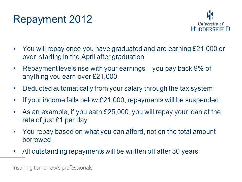 Repayment 2012 You will repay once you have graduated and are earning £21,000 or over, starting in the April after graduation Repayment levels rise with your earnings – you pay back 9% of anything you earn over £21,000 Deducted automatically from your salary through the tax system If your income falls below £21,000, repayments will be suspended As an example, if you earn £25,000, you will repay your loan at the rate of just £1 per day You repay based on what you can afford, not on the total amount borrowed All outstanding repayments will be written off after 30 years