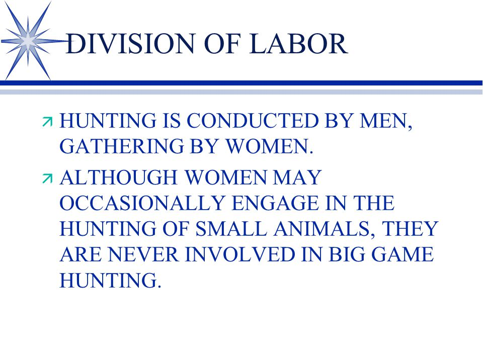 DIVISION OF LABOR ä HUNTING IS CONDUCTED BY MEN, GATHERING BY WOMEN. ä ALTHOUGH WOMEN MAY OCCASIONALLY ENGAGE IN THE HUNTING OF SMALL ANIMALS, THEY AR