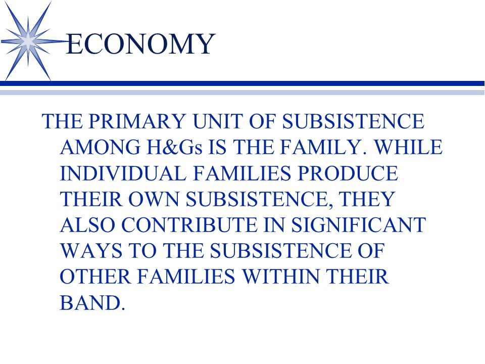 ECONOMY THE PRIMARY UNIT OF SUBSISTENCE AMONG H&Gs IS THE FAMILY.