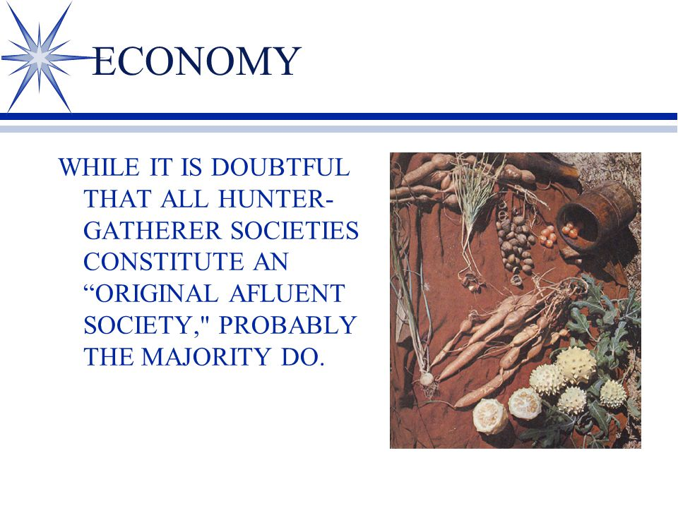 ECONOMY WHILE IT IS DOUBTFUL THAT ALL HUNTER- GATHERER SOCIETIES CONSTITUTE AN ORIGINAL AFLUENT SOCIETY, PROBABLY THE MAJORITY DO.