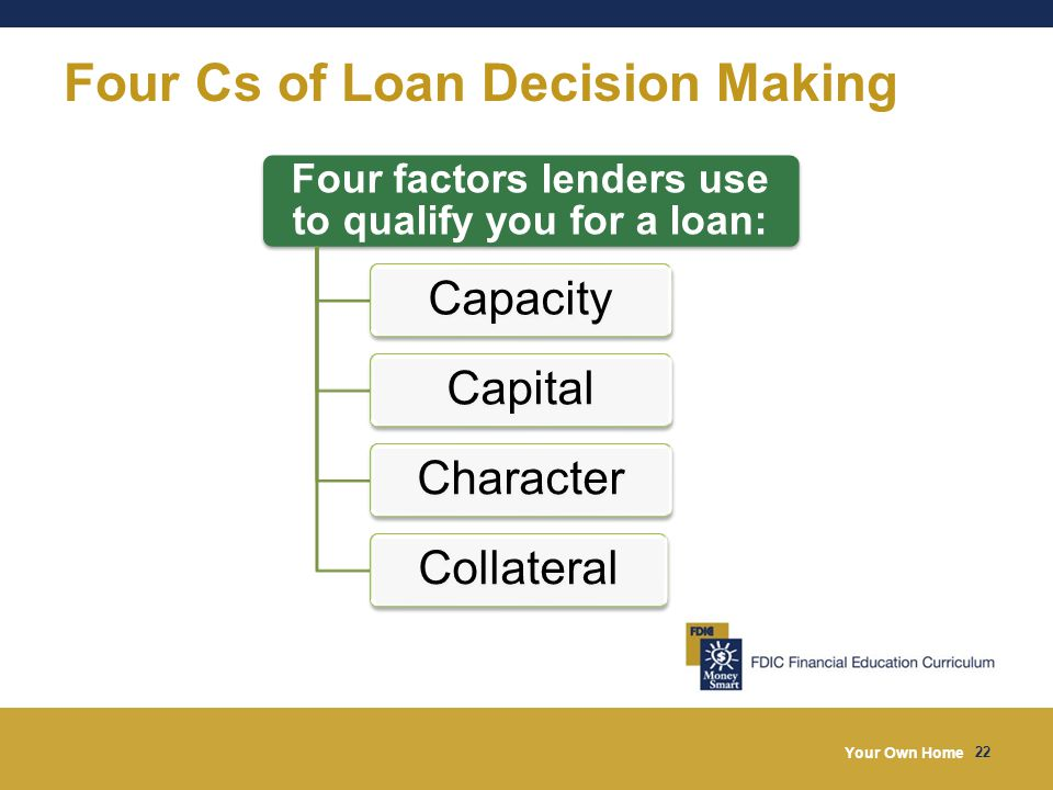 Your Own Home 22 Four Cs of Loan Decision Making Four factors lenders use to qualify you for a loan: CapacityCapitalCharacterCollateral
