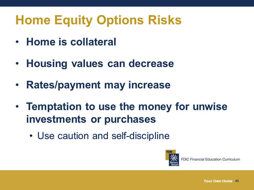Your Own Home 46 Home Equity Options Risks Home is collateral Housing values can decrease Rates/payment may increase Temptation to use the money for unwise investments or purchases Use caution and self-discipline